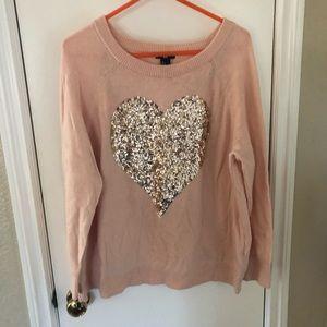 Shimmery heart sweater